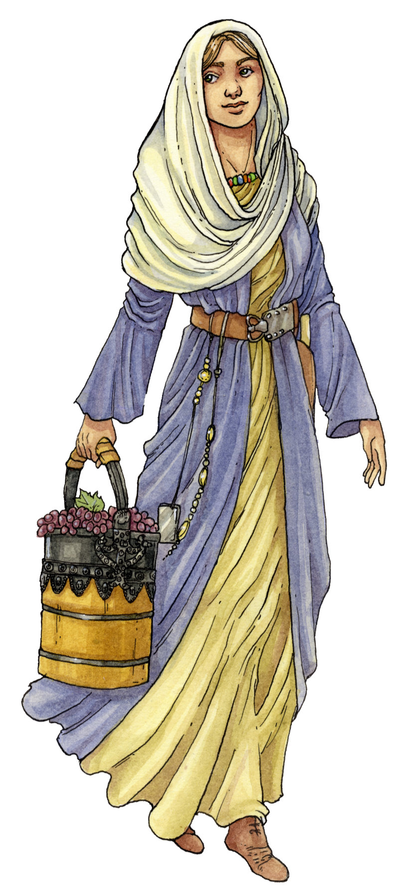 Illustration of a Frank woman in traditional clothes for the Town's Museum in Bad Dürkheim. Illustration einer Fränkin in traditioneller Kleidung für das Stadtmuseum in Bad Dürkheim.