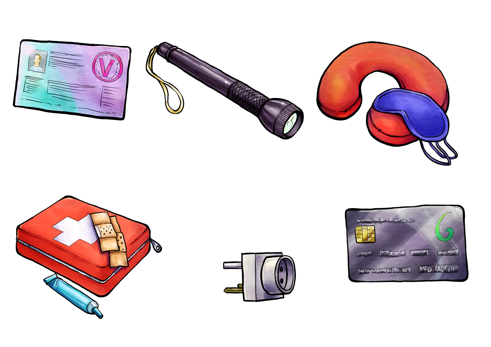 Illustrations for a game about traveling and holidays. Showing a visa, a flashlight, first aid kit, charger and credit card. Client: Grubbe Media. Illustrationen für ein Reisepiel.