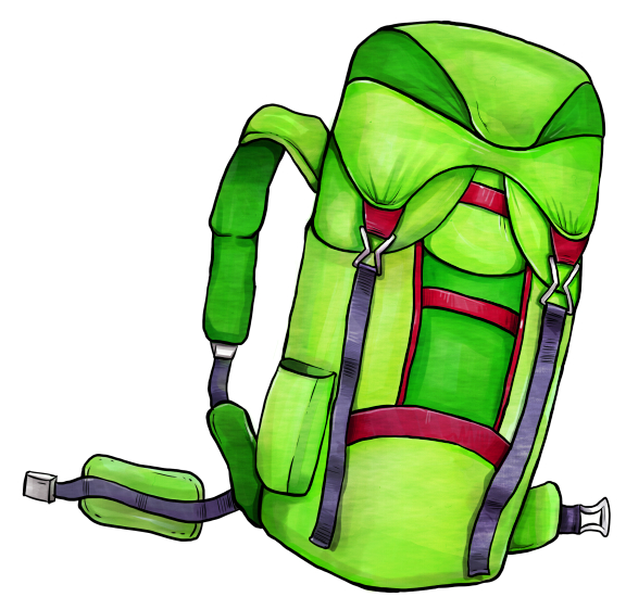 Illustration of a backpack. Illustration von einem Rucksack